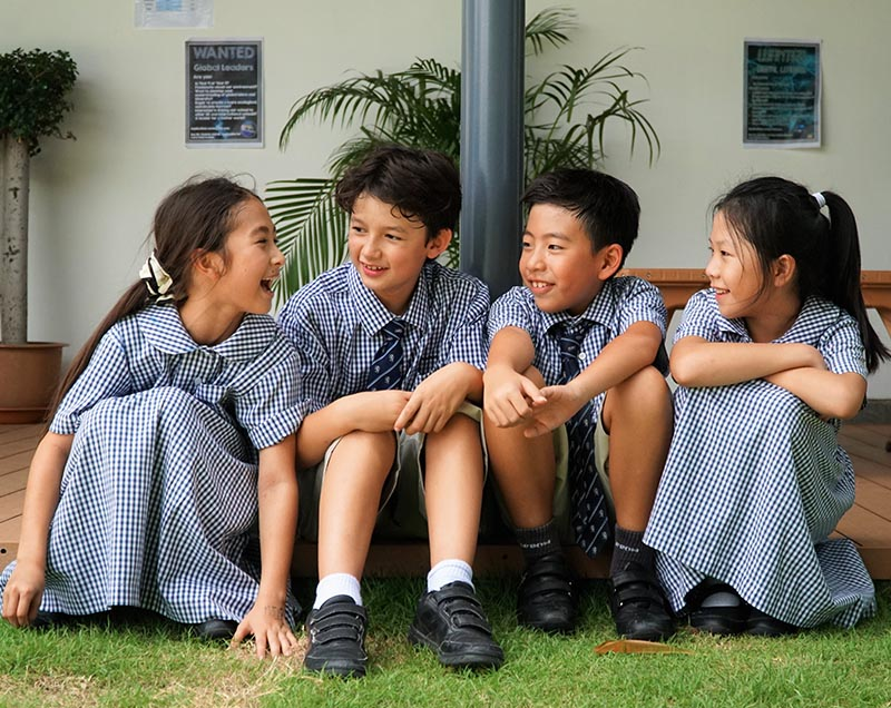 Friends meet up at playtime in the Pre Prep at Harrow Bangkok