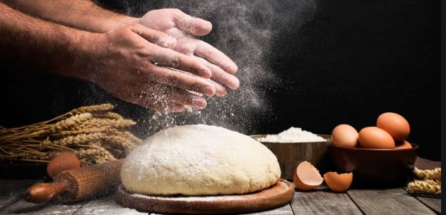 Baking bread with wheat flour, eggs