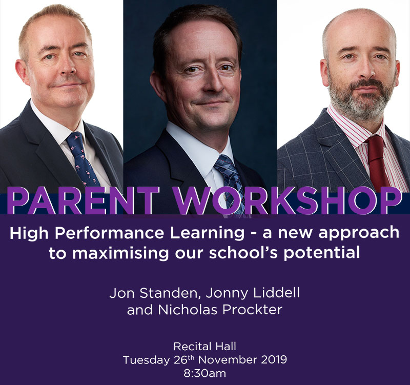 High Performance Parent Workshop led by Jon Standen, Jonny Liddell and Nicholas Prockter